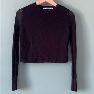 Zara Knit Black Long Sleeve Crop Top